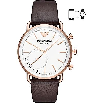Emporio Armani Connected 指針式智慧錶-銀x咖啡色