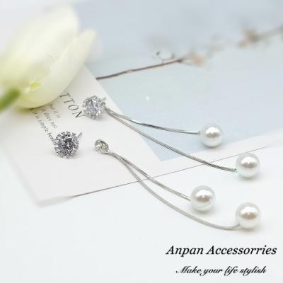 【ANPAN愛扮】韓東大門水晶太陽花珍珠垂墜925銀針耳釘式耳環