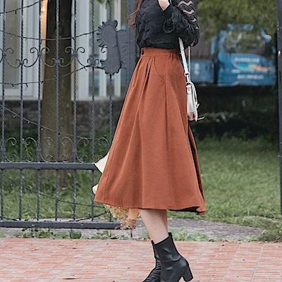 打褶設計面磨毛純色A字傘襬裙-OB大尺碼