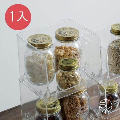 日本霜山 開放式可疊透明/文具/化妝品/小物收納盒-1入