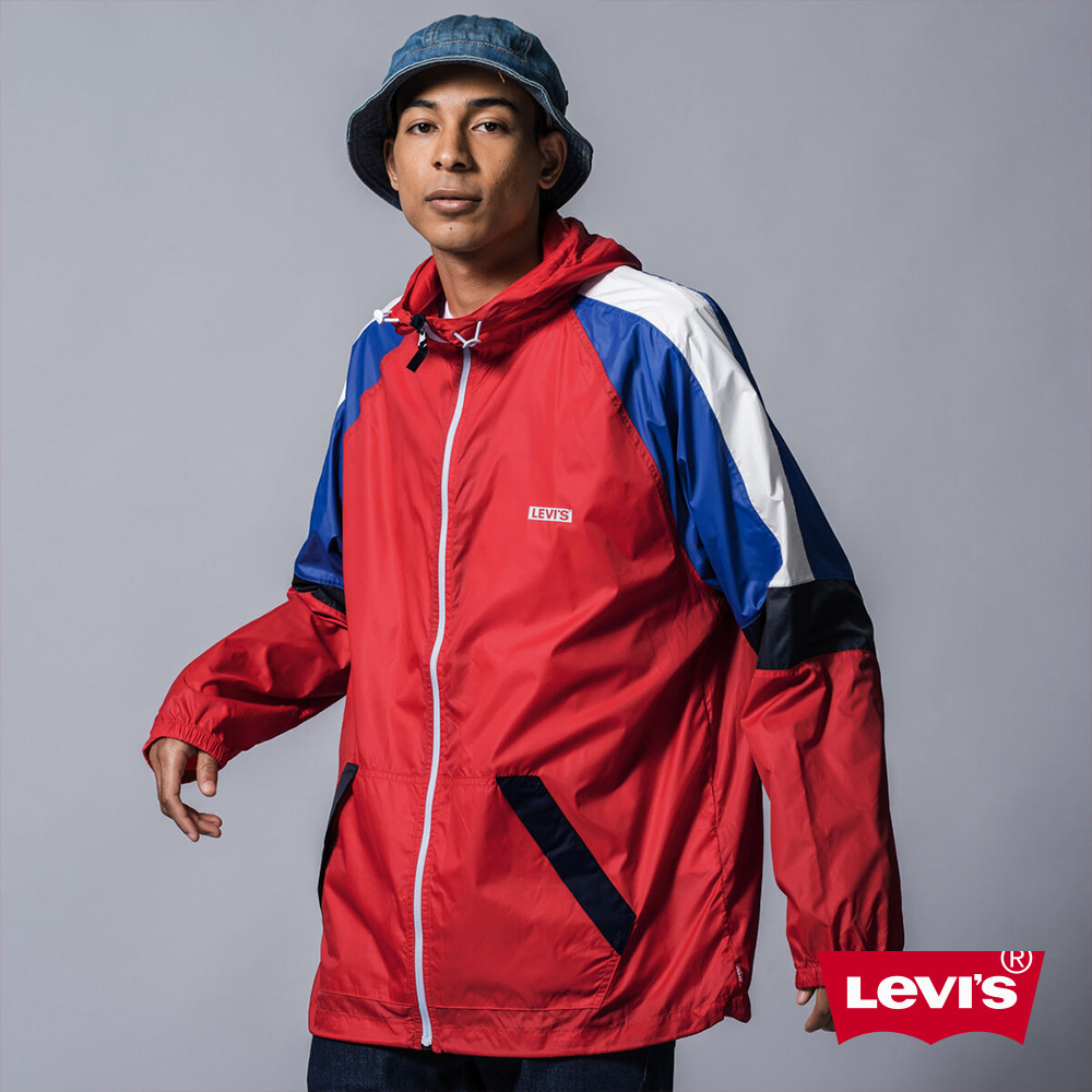 Levis 男款 連帽風衣外套 撞色拼接 刺繡Logo 布章 彈力收縮袖口
