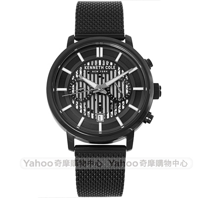 Kenneth Cole 都會米蘭帶機械風時尚手錶-黑/41mm