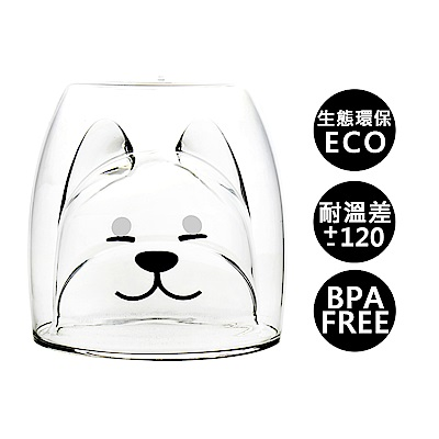 【加購】耐熱雙層玻璃杯_柴犬200ml