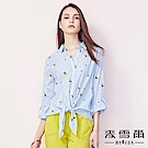 【麥雪爾】純棉清新茉莉花綁帶五分袖襯衫