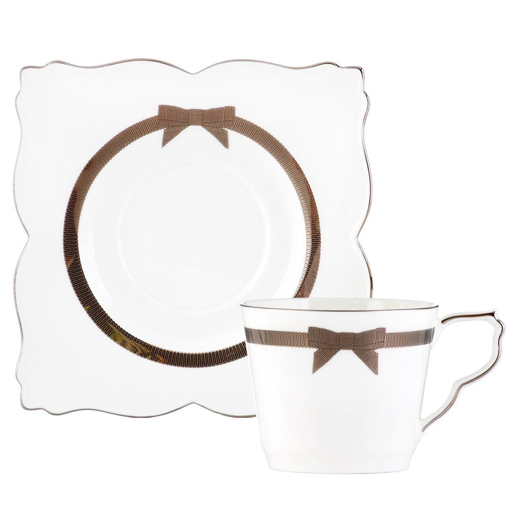 Royal Duke 骨瓷咖啡杯碟組-蝴蝶結(二杯二碟)