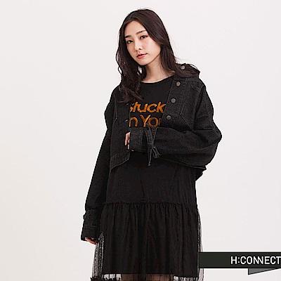 H:CONNECT韓國品牌女裝綁帶短版牛仔外套-黑快
