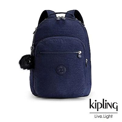 Kipling星空藍前袋拉鍊後背包-CLAS SEOUL