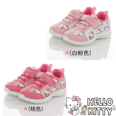 HelloKitty童鞋 輕量減壓抗菌防臭休閒鞋-白粉.桃