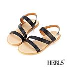 HERLS 簡約時尚 多帶金屬方扣平底露趾涼鞋-黑色