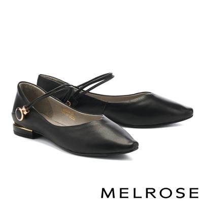 低跟鞋 MELROSE 簡約時尚兩穿式金屬釦繫帶全真皮尖頭低跟鞋-黑