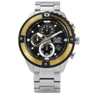 ALBA 競速霸氣三環計時不鏽鋼手錶-黑金色/46mm