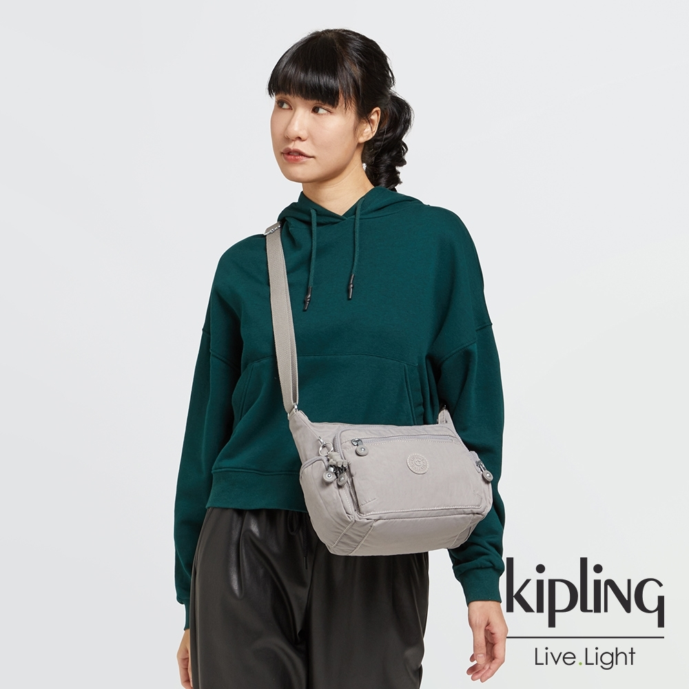 Kipling 溫柔沉穩灰多袋實用側背包-GABBIE S