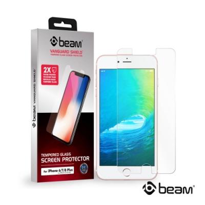 【BEAM】 iPhone 8+/7+/6+/6s+ 透明耐衝擊鋼化玻璃保護貼