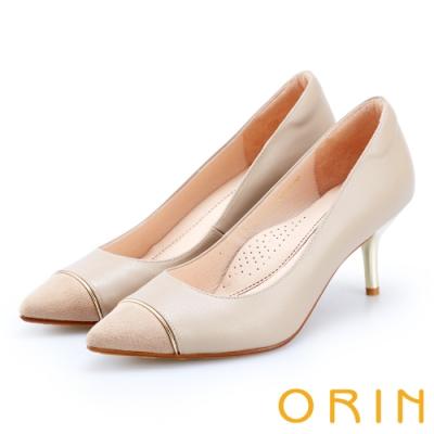 ORIN 優雅女人 雙皮質拼接尖頭高跟鞋-粉膚