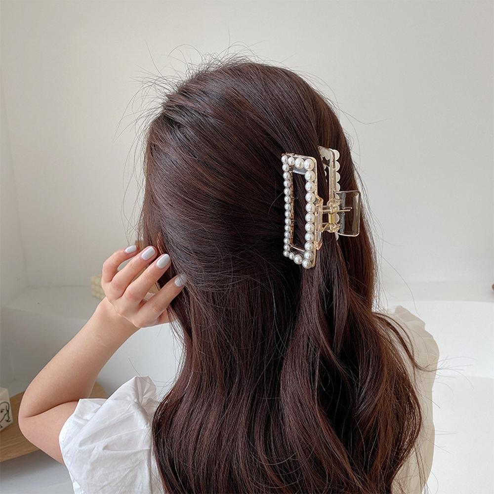 梨花HaNA 韓國南大門設計感珍珠方框.半透明大抓夾