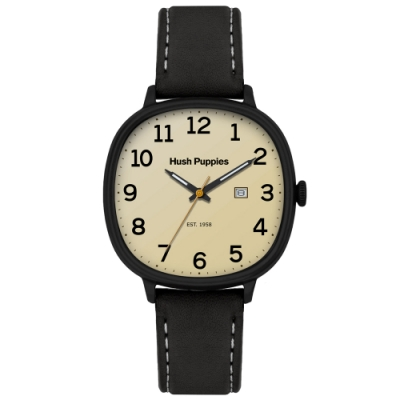 Hush Puppies 美式經典皮革手錶(HP3878)-黑殼x象牙/44 mm