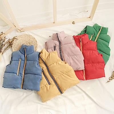小衣衫童裝  兒童加大保暖撞色拉鍊夾棉外套背心1071119