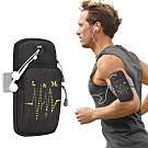 活力揚邑 防水透氣排汗耳機孔跑步自行車運動手機音樂臂包臂袋臂帶臂套7.2吋以下通用-黑