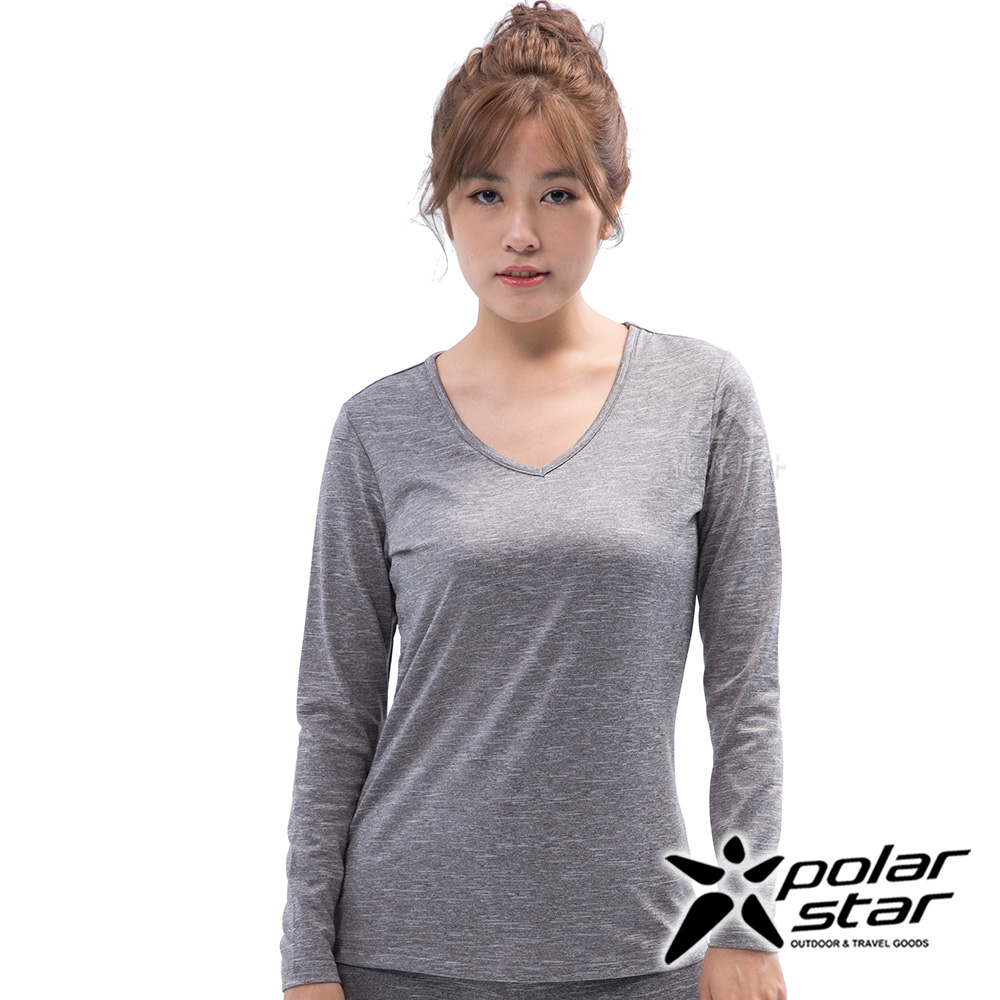 PolarStar 女 遠紅外線V領保暖衣『灰色』 P18228