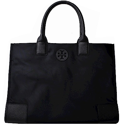 TORY BURCH ELLA縫線皮革LOGO尼龍釦飾肩背包-大/黑
