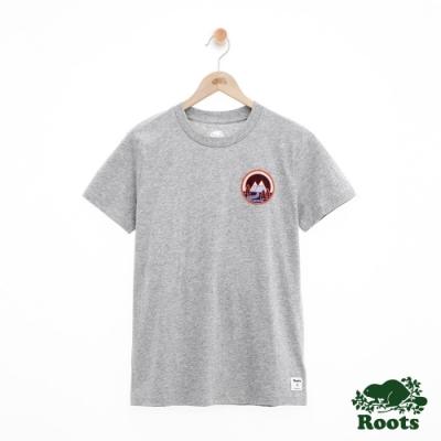 女裝ROOTS -圓形貼布短袖T恤-灰