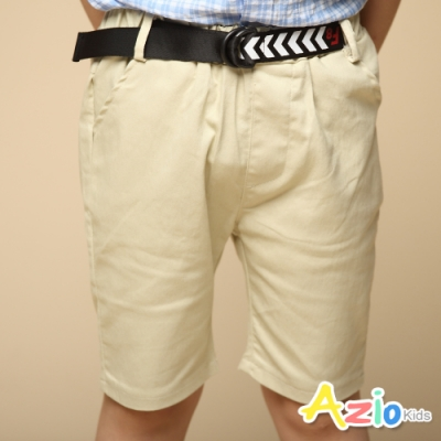 Azio Kids 男童 短褲 雙環造型皮帶休閒短褲(卡其)