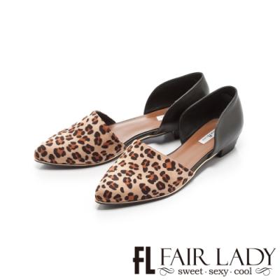 Fair Lady優雅小姐Miss Elegant動物皮紋拼接挖空低跟鞋 咖豹紋