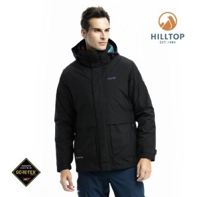 【hilltop山頂鳥】男款GORE-TEX防水羽絨短大衣F22MZ4魚子醬黑