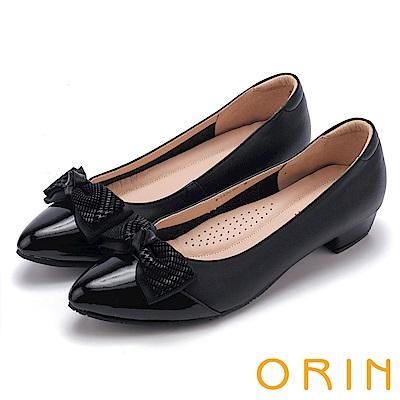 ORIN 氣質甜美風 雙皮質蝴蝶結尖頭低跟鞋-黑色
