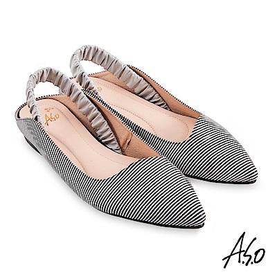A.S.O時尚流行 健步美型個性後拉帶低跟穆勒鞋黑漆皮