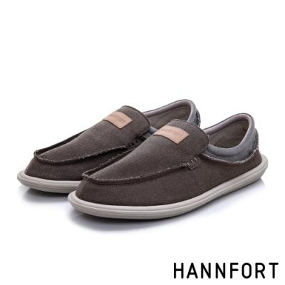 HANNFORT COZY可機洗帆布氣墊懶人鞋-男-深邃棕