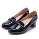 MAGY 氣質首選 金屬飾釦牛皮中跟鞋-黑色 product thumbnail 1