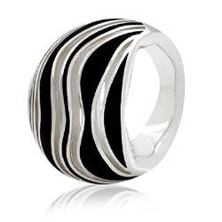 MONT BLANC 萬寶龍 黑色漆面波浪紋寬版純銀戒指-54號