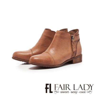Fair Lady拉鍊造型擦色木紋粗跟短靴 可可
