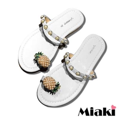 Miaki-拖鞋可愛珍珠平底涼鞋-白
