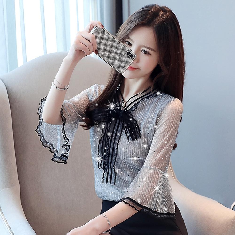優雅撞色滾邊喇叭袖繫帶雪紡衫S-2XL(共二色)-白色戀人 product image 1