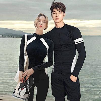Biki比基尼妮泳衣   浮潛衣黑色沖浪服防晒拉鍊外套長袖泳衣(女購買區)