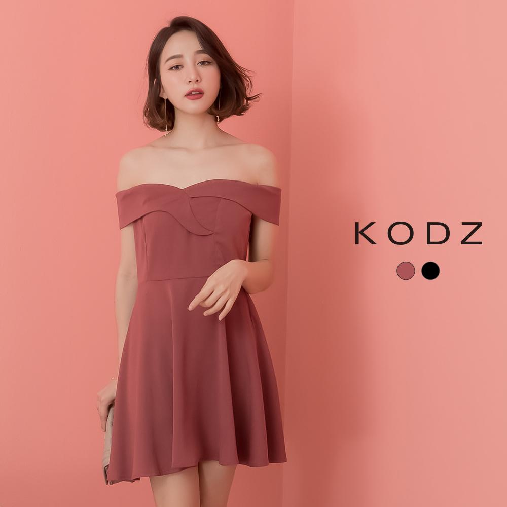 東京著衣-KODZ 唯美性感一字領傘擺洋裝-S.M(共兩色)