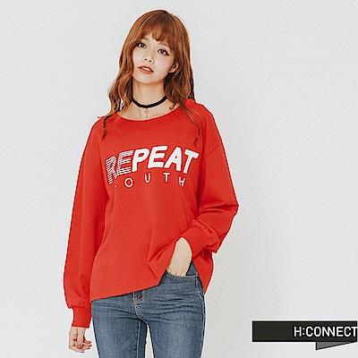 H:CONNECT 韓國品牌 女裝-大圓領印字上衣-紅