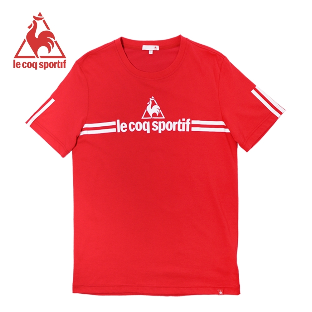 le coq sportif 法國公雞牌經典品牌LOGO雙線條短袖T恤 男-紅