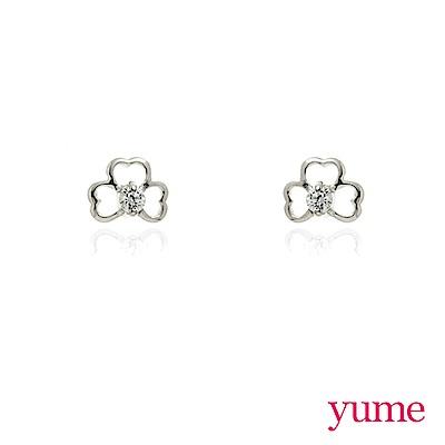 YUME - K金幸運草晶鑽耳環