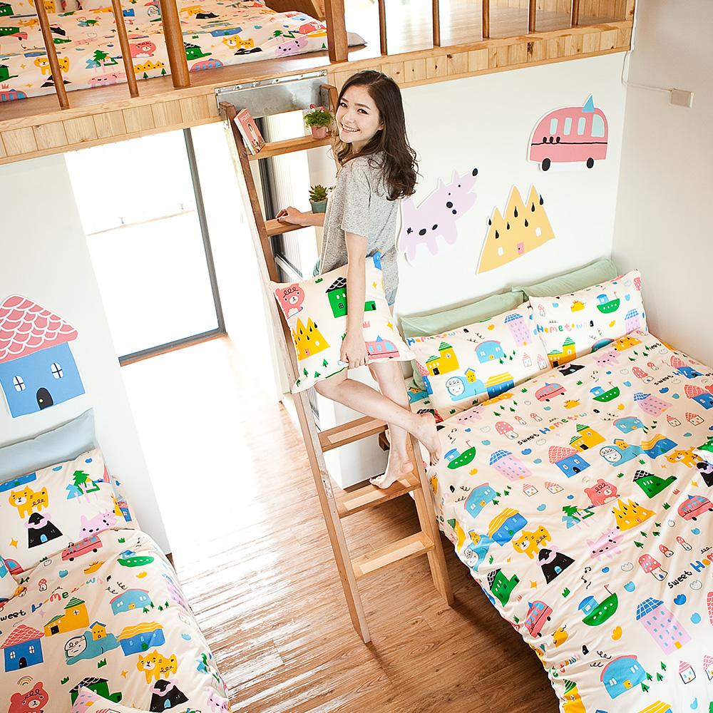 戀家小舖 / 單人床包枕套組  Sweet home甜蜜的家  雪紡絲磨毛  台灣製