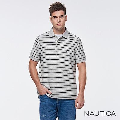 Nautica 經典條紋POLO衫-灰色