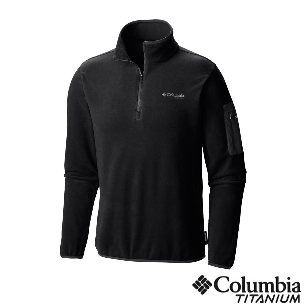 Columbia 哥倫比亞 男款-鈦 Polar刷毛半開襟上衣-黑色