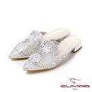 【CUMAR】童話奧地利 - 雷射沖孔鏤空鑽飾穆勒平底鞋-銀