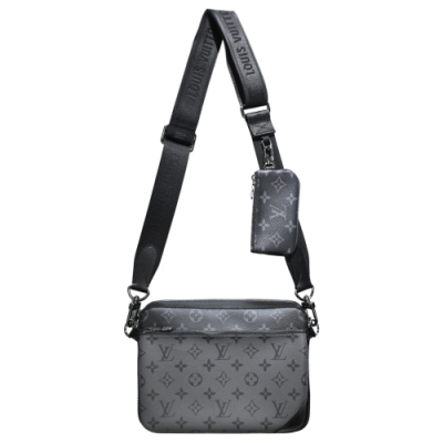 Louis Vuitton Trio Monogram Eclipse Reverse帆布男士三合一斜背包(黑灰)