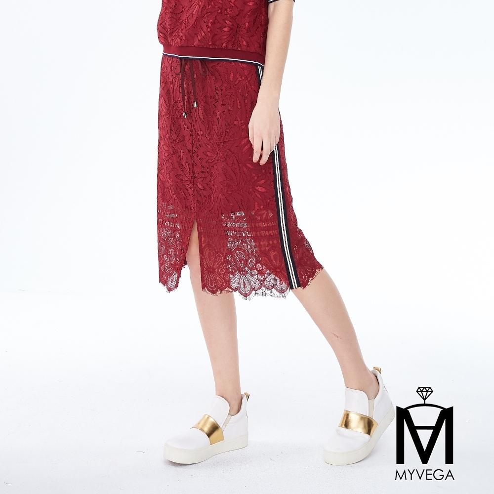 麥雪爾 MA蕾絲鏤空織帶鬆緊抽繩裙