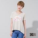 SNS 率性嘴唇文字塗鴉傘狀T恤(2色)