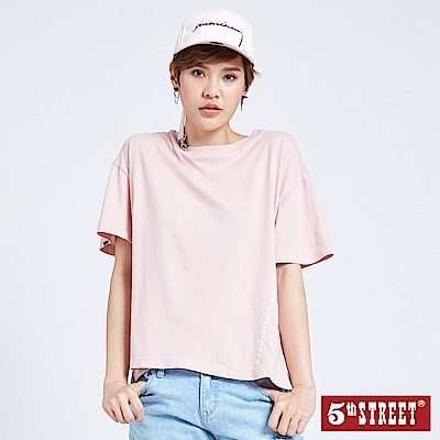 5th STREET 街頭側開衩寬版短袖T恤-女-粉色