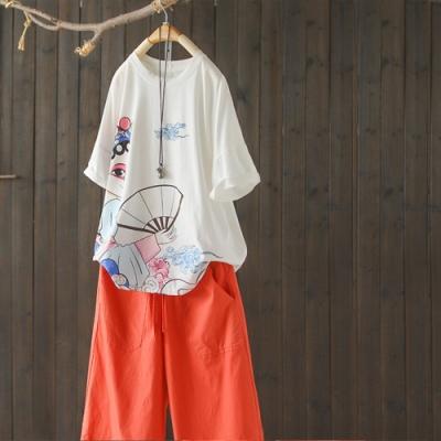 印花純棉短袖T恤寬鬆休閒圓領上衣-設計所在